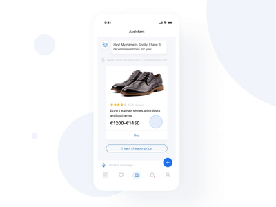 Sholly | Find the best store artificial intelligence ai chatbot chat ui startup motion mobile minimal ios design application app animation