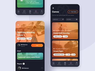 3x3 | Pickup Basketball App dark theme orange court tournament street sports game ball basketball ui mobile ios design application app