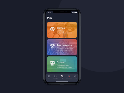 3x3 | New game ui dark theme court street ball basketball startup motion mobile ios design application app animation