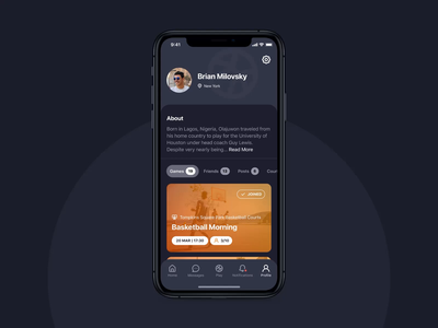 3x3 | Messages ui dark theme sports ball court basketball startup motion mobile ios design application app animation