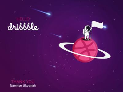 Hello Dribbble! space man creative design clean first shot dribbble hello