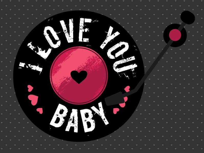 Valentine Vinil card heart vinil love valentine valentine day 2020 design vector simple concept illustration flat
