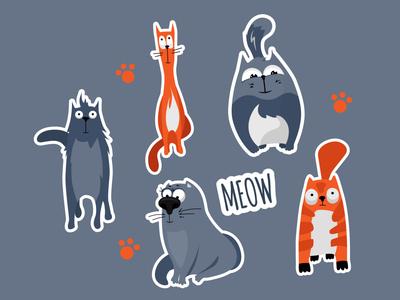 Cat sticker set meow socialmedia digital paw set sticker cat funny animal design vector cartoon character simple concept illustration flat