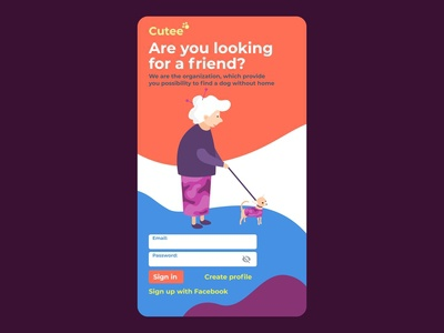 Find homeless puppy charity homeless sign in ui login ux chirity find puppy cartoon simple concept illustration flat