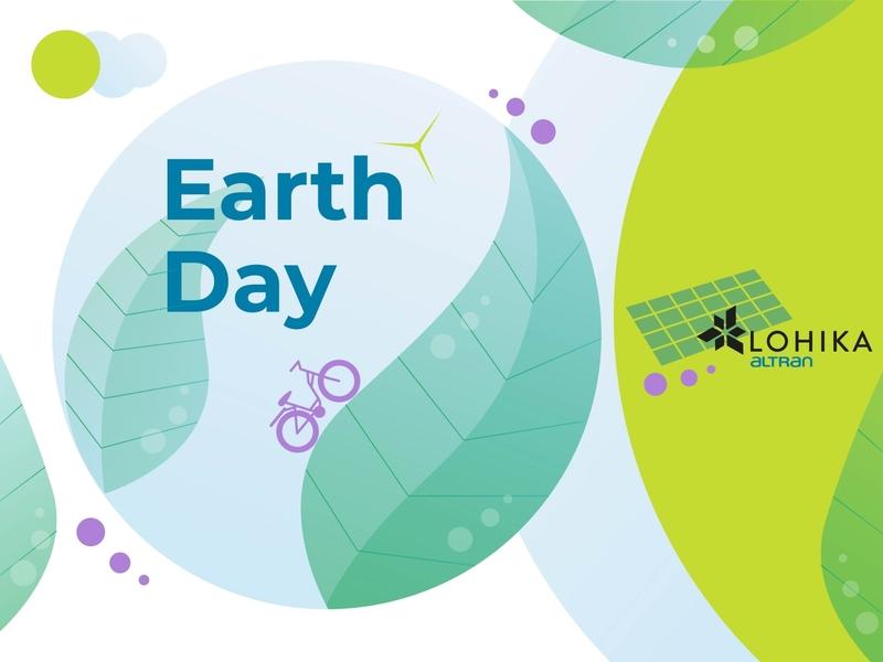 Earth Day Lohika eco sun windmill bike ecological ecology earthday earth 2020 branding design vector simple concept illustration flat
