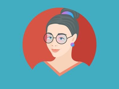 Girl cute glasses avatar human woman vector cartoon character illustration flat