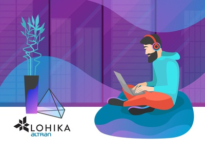 Home playlist technology violet people music hipster work from home human trendy 2020 design vector character illustration flat