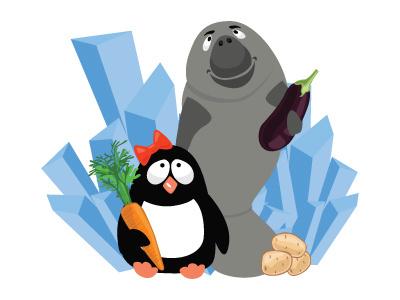 Healthy life funny potato ice fish carrot illustration flat animal cartoon character penguin health eko healthy