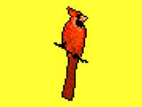 Exotic pixel art bird