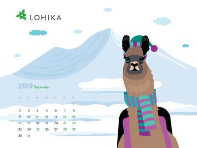 December 2019 calendar with lama