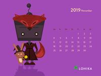 Funny calendar with robot