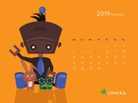 Calendar with rock star robot