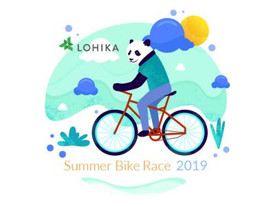 Summer Bike Race sky trendy panda mood race bike summer simple character cartoon vector animal concept illustration flat