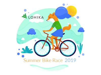 Summer Bike Race with fox trendy race bike summer fox cartoon vector character simple concept illustration flat
