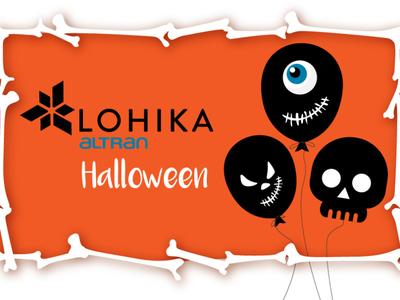 Halloween 2019 skull smile trendy scary halloween bones baloon funny brand vector cartoon character simple concept illustration flat