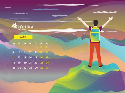 Calendar 2020 May sky hiking hike tourism sport freedom mountain may human man nature calendar 2020 design cartoon character simple concept illustration flat