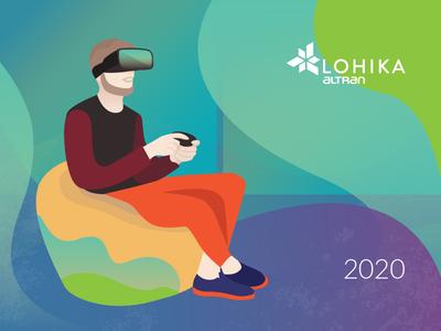 Calendar 2020 trendy office augmented reality augmentedreality vr game humans human digital calendar 2020 vector cartoon character simple concept illustration flat
