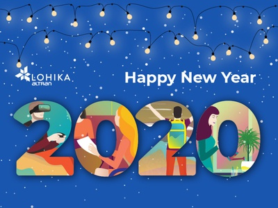 Happy New Year 2020 work digital new year greating 2020 design vector character simple concept illustration flat