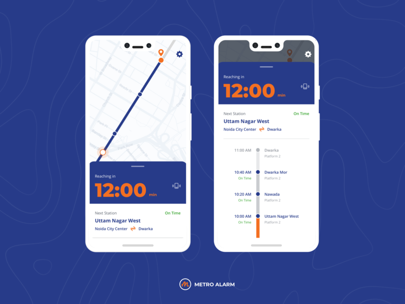 Metro Alarm & Status Tracking App casestudy wireframes travelling ux ui design interactiondesign android app application design ui design