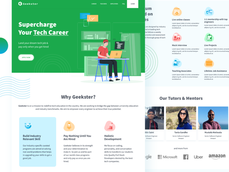 Geekster Landing Page elearning courses illustration design uiux home page landingpage