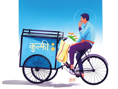 Kulfiwala🍧🍦 procreate character vector graphic illustration design art design art street food india ice cream