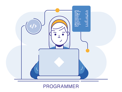 Programmer lineart code fullstack character ui graphic vector illustration design programing