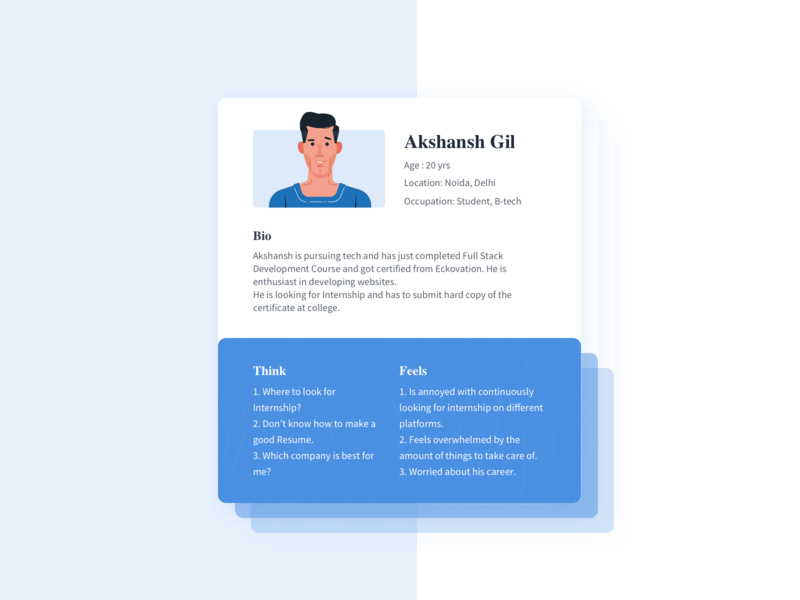 Persona Card illustration empathy card ui ux user research persona