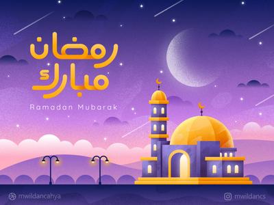 Ramadan Mubarak building illustrator affinity designer illustration flat illustration arabic night sky mosque masjid landscape illustration moslem fasting ramadan mubarak ramadan