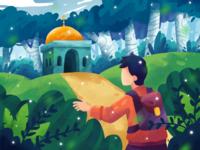 Masjid in the woods colorful woods plant traveler masjid forest digital illustration digital painting illustration