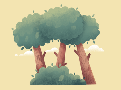Three Tree flat illustration flat concept bushes nature illustration tree procreate