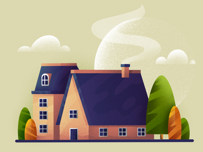 Little house scenery environment artwork flat illustration european colorful tree building house illustration procreate