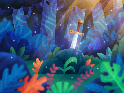 Sword in the stone environment concept art concept illustration procreate art trees forest excalibur sword in the stone sword procreate