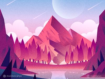 Mountain Lake concept art forest trees flat illustration affinity designer concept vector sky environment illustration