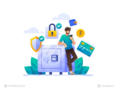 Maximum Protection for your account creditcard bank account protect finance ux ui affinity designer creative illustrator flat illustration design illustration vector