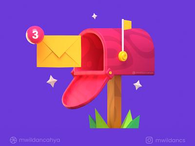 "3D Mail Box - ""You've got 3 Unread Emails"" cinema4d c4d notification email uiux flat illustration blender3d cycles blendercycles eevee blender mail box illustration 3d illustration 3d"