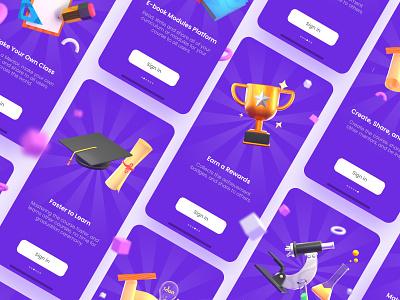3D School Icon Explorations cinema4d c4d cycles blender ui ux onboarding screen school app animation 3d animation education school illustration landing page webdesign onboarding icon 3d icon 3d illustration 3d art 3d