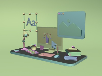 3D Illustration - Design Agency Landing Page setup imac pen tool 3d icon graphic designer workdesk cinema4d c4d eevee cycles blender ui design agency web design 3d illustration 3d art landing page illustration 3d