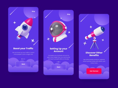 Space App 3D Icons Onboarding Screen welcome screen ui onboarding screen onboarding 3d illustration planet c4d cinema4d eevee cycles blender stars telescope boost rocket astronout space icon 3d icon 3d