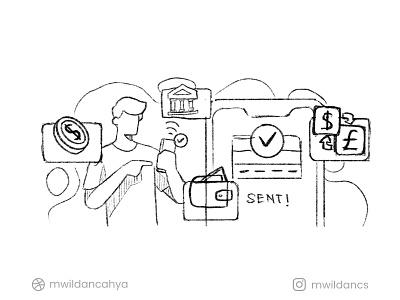 Fulush - Instant Money Transfer Illustration concept app illustration finance cash money transfer bank money transfer hero image landing page fintech illustrator flat illustration affinity designer vector illustration illus