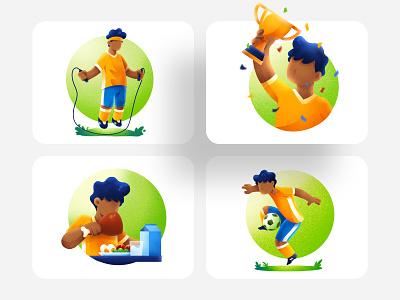 Football Boy - Sports illustrations Exploration exercise training soccer ball kid boy ball boy football euro sports procreate illustrator flat illustration affinity designer design vector illustration