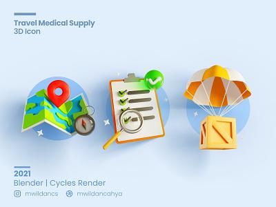 3D Icon - Travelling Medical Supply 3d illustration eevee cycles 3d blender blender supply list location medical travel concept design 3d icon icon illustration 3d
