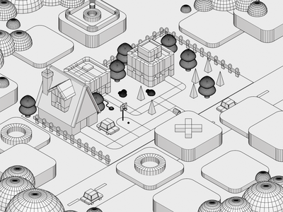 Virtual Neighborhood environment landscape tech smart house nft real estate virtual blender 3d eevee cycles blender illustration cars house neighborhood city 3d isometric isometric 3d illustration 3d