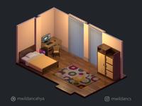 3D Isometric Low poly Bedroom (Night)
