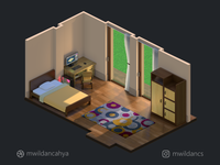 3D Isometric Low Poly Bedroom (Day)