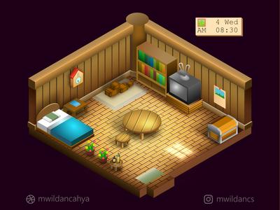 Isometric Harvest Moon BTN room