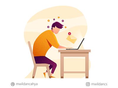 You have 3 unread emails! workdesk laptop working email flat illustration flat flat design vector art vector illustration illustrator madeinaffinity affinity designer illustration creative artwork concept design vector