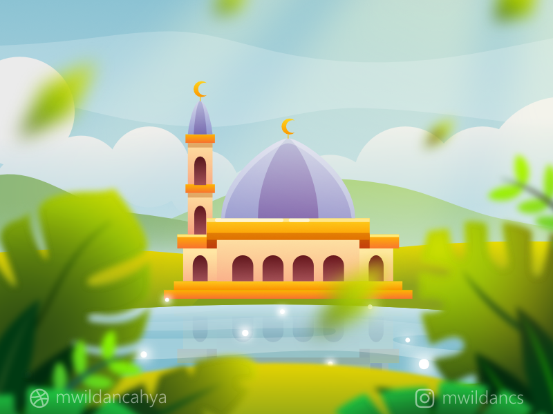 a Masjid near the Lake concept art environment lake river moslem islamic mosque masjid vector illustration flat flat design vector inspiration illustrator madeinaffinity affinity designer concept artwork design illustration vector