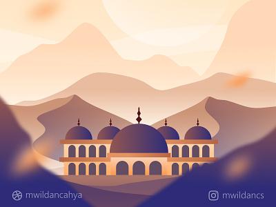 Happy Eid al-Adha flat flat illustration concept mosque moslem masjid eid mubarak dessert affinity designer madeinaffinity illustrator vector art illustration design vector