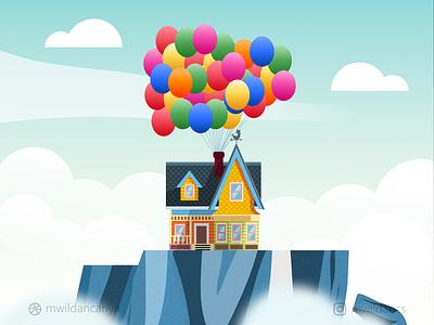Paradise Falls - Up House up movie fanart pixar paradise falls house up illustrations flat flat illustration madeinaffinity affinity designer vector illustration design