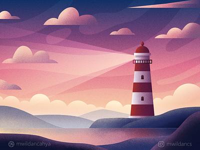 Sunset Lighthouse sunset lighthouse illustration flat flat design vector vector illustration flat illustration illustrator affinity designer design